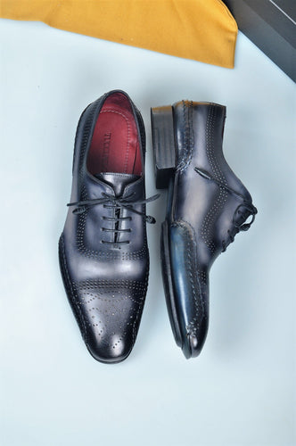 Special Edition TucciPolo Black & Grey Prestigiously Designed HandWelted Oxford Mens Luxury Shoes