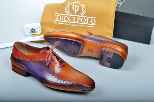 Special Edition TucciPolo Purple & Tan Prestigiously Designed HandWelted Oxford Mens Luxury Shoes