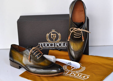 TucciPolo Mens Handmade Wingtip Oxford Style Brogues Green Luxury Shoe