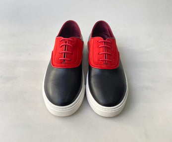 TucciPolo Limited Edition Mens Handcrafted Two tone Black and Red leather Dress Sneaker