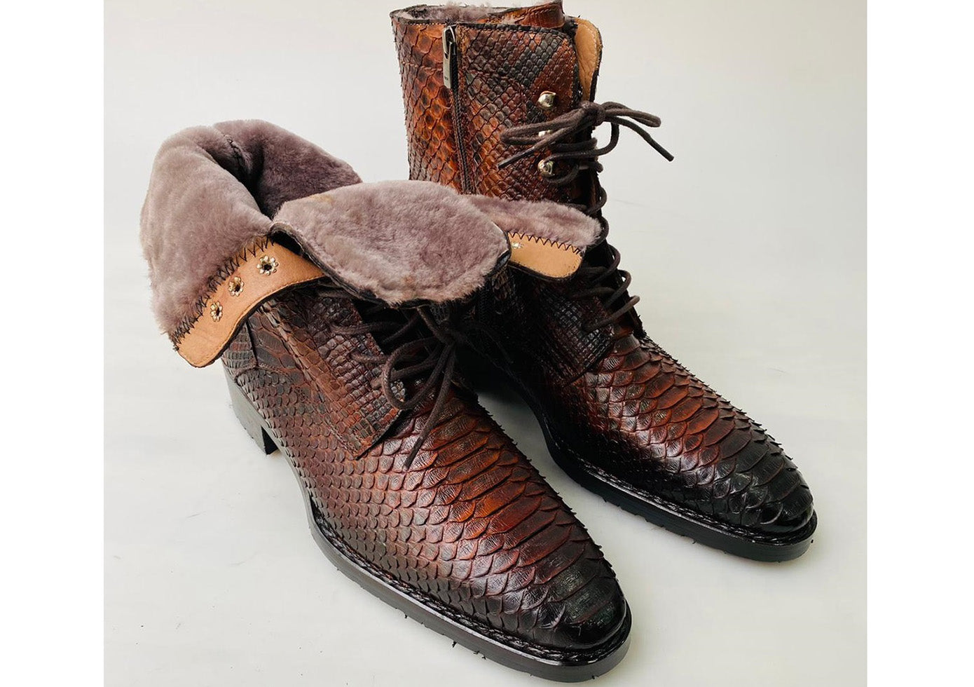 New TucciPolo Mens Winter Luxury Brown Boots Handcrafted with Real Python Leather and Fur Lining