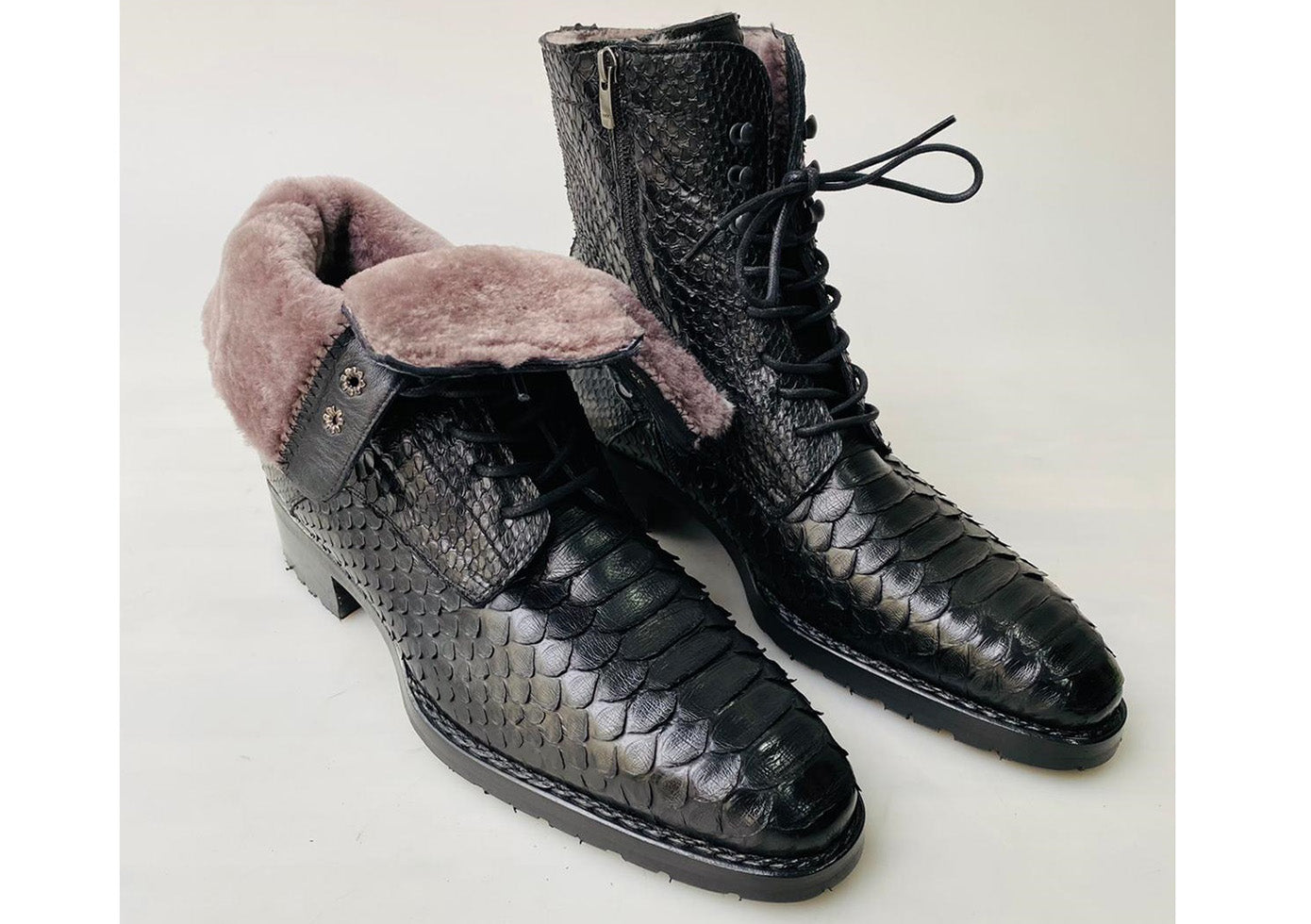 New TucciPolo Mens Winter Luxury Black Boots Handcrafted with Real Python Leather and Fur Lining