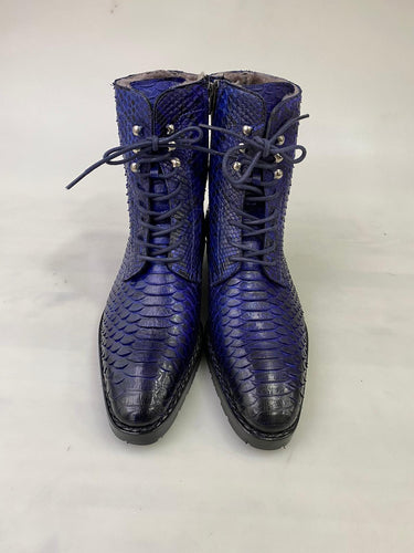New TucciPolo Mens Winter Luxury Blue Boots Handcrafted with Real Python Leather and Fur Lining