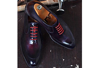 TucciPolo Dark Purple Handmade Naturally Tanned Calfskin Italian Leather Luxury Mens Shoe
