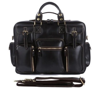 TucciPolo 7028A Genuine Cow Leather Men's Briefcase Laptop Bag