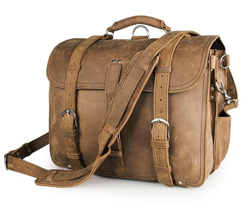 TucciPolo 7072B Brown Crazy Horse Leather Large Men's Briefcase Backpack Travel Bag