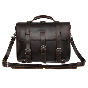 TucciPolo 7072Q Thick Durable Cow Leather Men's Office Briefcase Backpack