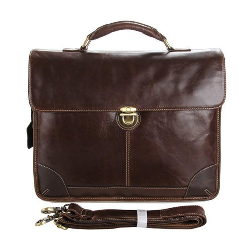 TucciPolo 7091C Classic Vintage Leather Men's Chocolate Briefcase Laptop Messenger Bag