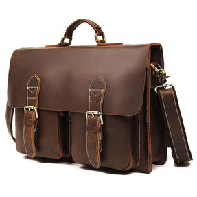 TucciPolo 7105B-1 Crazy Horse Leather Style Men's Briefcase Laptop Messenger Bag