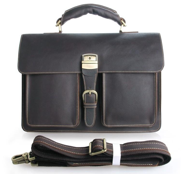 TucciPolo 7164Q Genuine Leather Men's Chocolate Briefcase Laptop Handbag