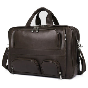 TucciPolo 7289Q Full Grain Cow Leather Coffee Briefcase Handbag for Men