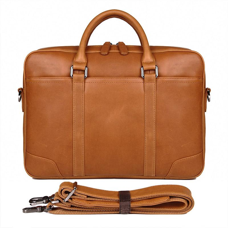 TucciPolo 7348B-2 Bright Brown Genuine Cowhide Men's Laptop Briefcase handbag