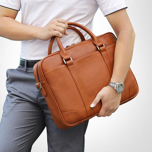 TucciPolo 7349B-1 Bright Brown Genuine Leather Briefcase Mens Laptop Bag