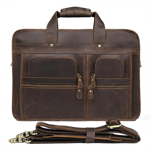 TucciPolo 7387R Crazy Horse Leather Unique Design Business Laptop Briefcase Bag