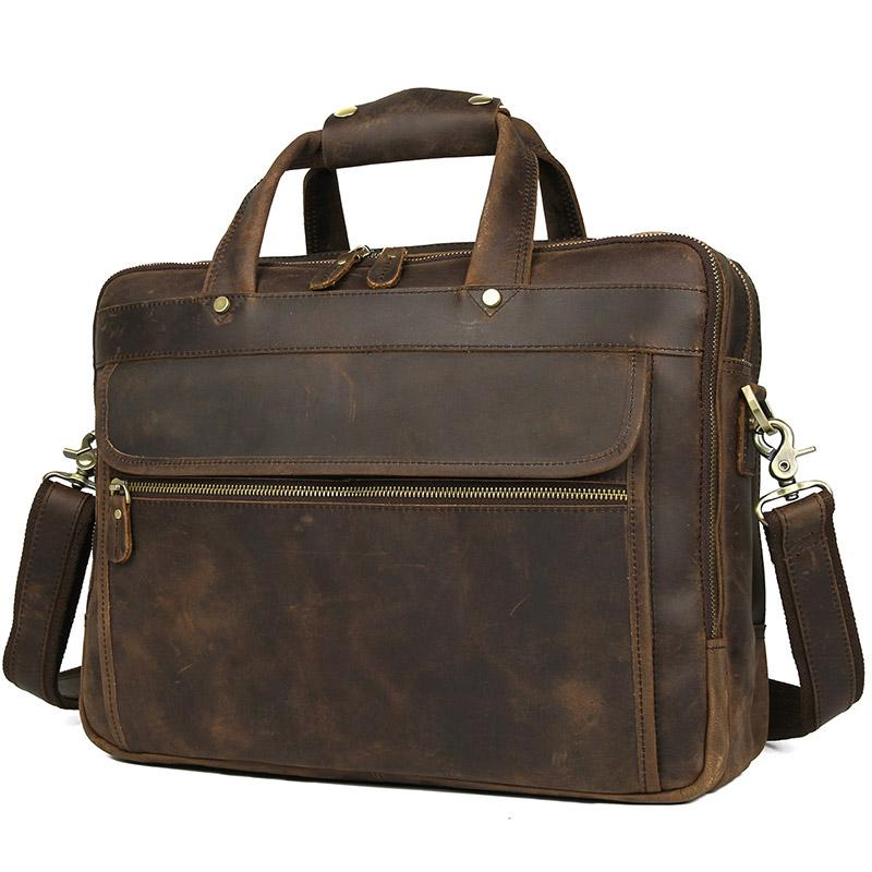 TucciPolo 7388R Real Leather Multi-function Briefcase Laptop Bag