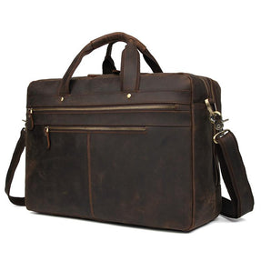 TucciPolo 7389R Dark Brown Cowhide Leather Briefcase Large Capacity Business Travel Bag for Men