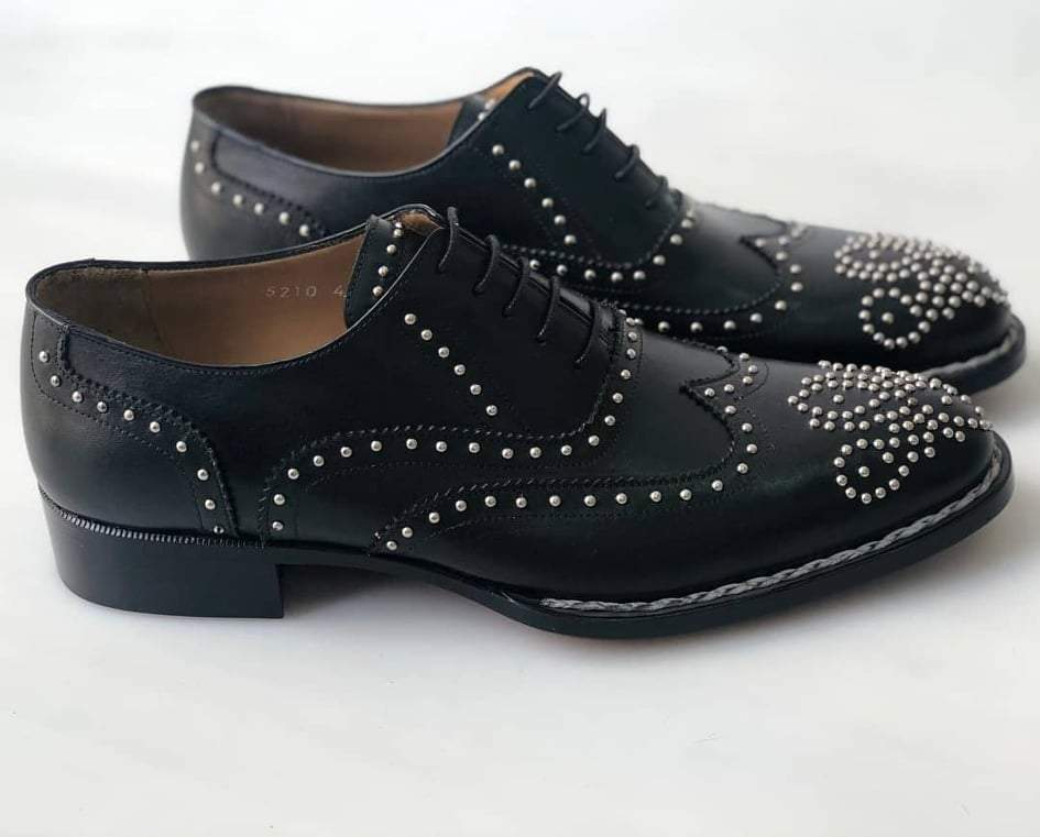 TucciPolo Limited Edition Mens Luxury Studded Black Brogue Italian Leather Handstitched Double Leather Sole Oxford Shoes