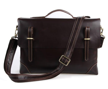 TucciPolo 7228Q Dark Brown Rare Genuine Cow Leather Men's Briefcase Laptop Messenger Handbag