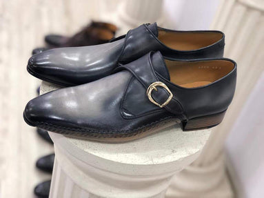 TucciPolo Men's Single-Buckle Blackish Grey Monkstraps Italian Leather Handmade Luxury Shoes