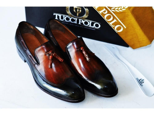 TucciPolo Mens Handcrafted Italian Leather Tassel Two Tone Green & Tan Luxury Loafers Shoe