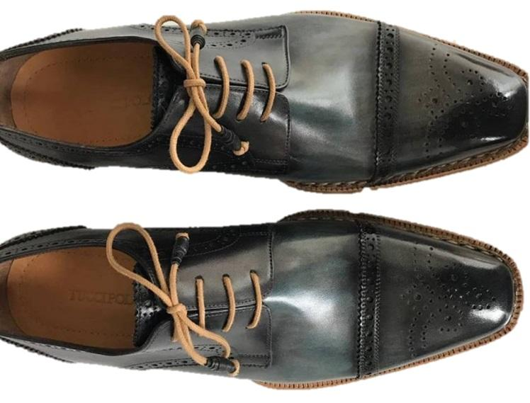 TucciPolo Mens Handmade Luxury Grey Handstitched Welted Derby Captoe Brogue Italian Leather Shoes