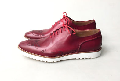 TucciPolo 2020 Handmade Italian Calf Skin Leather Oxford Style Casual Red Sneaker Dress Shoe