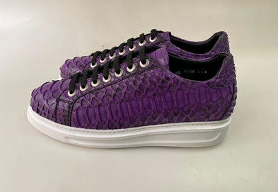 TucciPolo 2021 Special Edition Men's Sporty Handmade Purple Real Python Leather Luxury Sneaker with Eva Sole