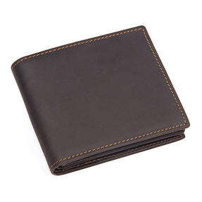 TucciPolo 8056R-2 Mens Dark Brown Vintage Cow Leather Customized Wallet Purse