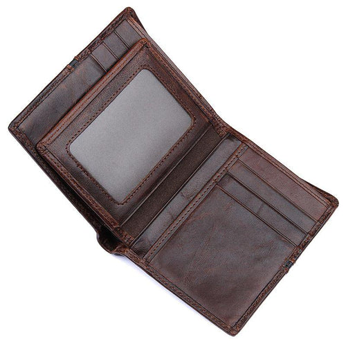 TucciPolo 8157-2Q Mens Cow Leather Dark Brown Cash Holder ID Wallet