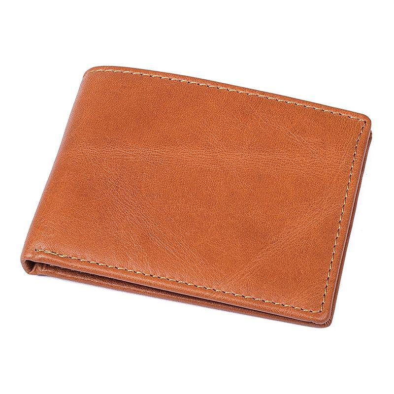 TucciPolo 8161B Bright Brown Leather Simple Design Pocket Wallet for Men