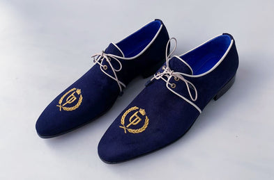 TucciPolo Exclusive Mens Italian Suede Handmade Luxury Navy Blue Lace-up Slippers