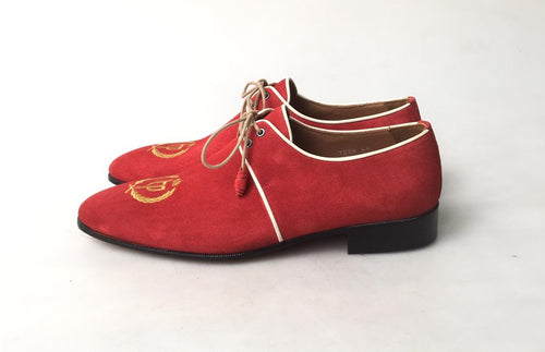 TucciPolo Exclusive Mens Italian Suede Sophisticated and Timeless Handmade Luxury Red Lace-up Slip-on Slippers