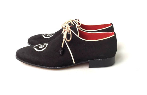 TucciPolo Exclusive Mens Italian Suede Handmade Luxury Black Lace-up Slippers