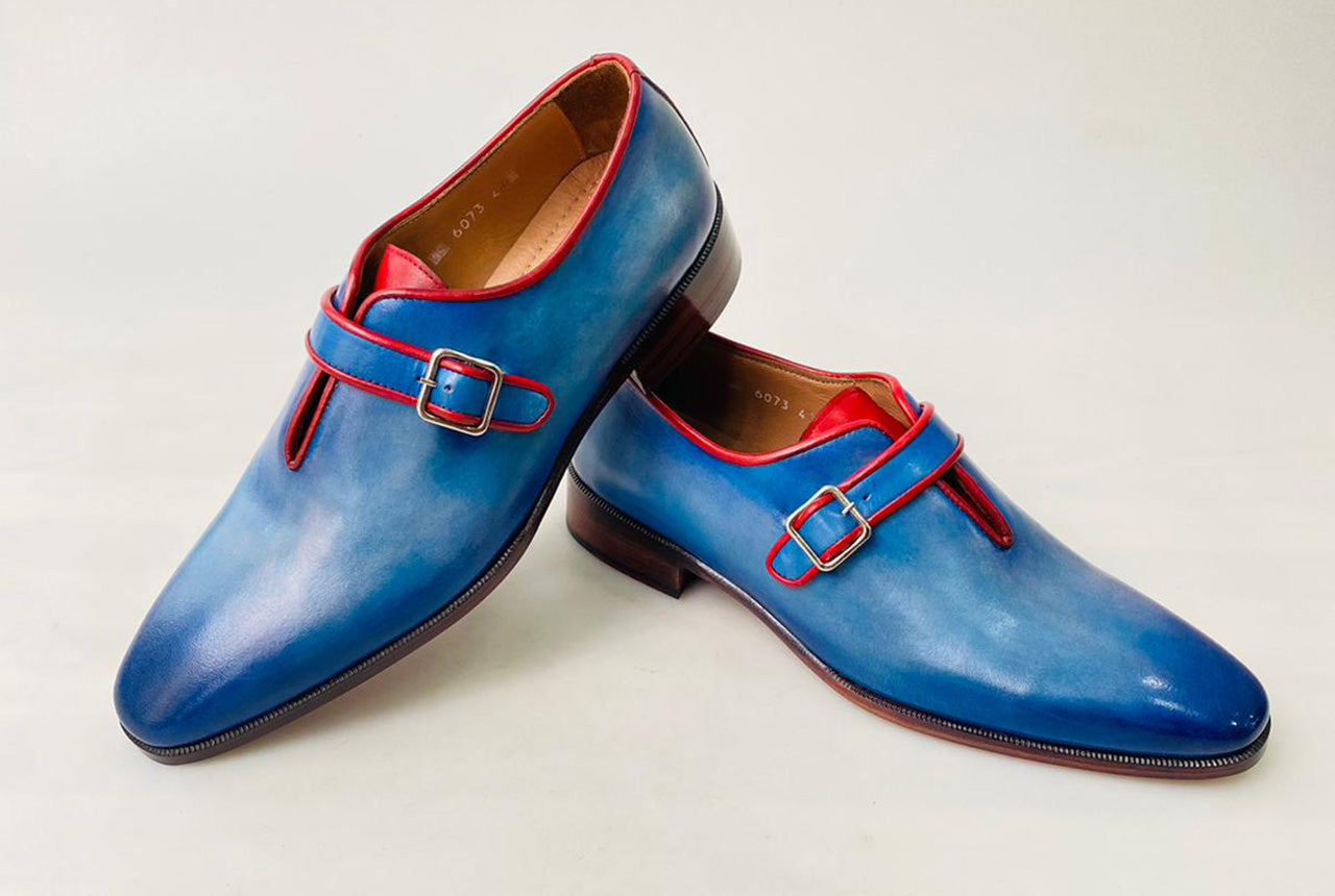 TucciPolo Handmade Luxury Blue Monkstrap with Red Trim Mens Italian Leather Shoes
