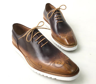 TucciPolo Mens Exclusive Handmade Italian Leather two tone Brown Oxford Style Casual Sneaker Dress Shoes