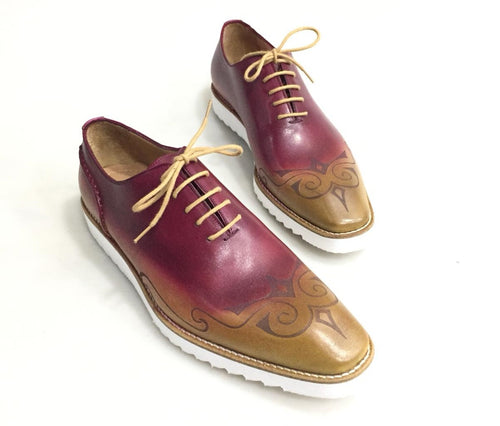 TucciPolo Mens Exclusive Handmade Italian Leather two tone Burgundy-Beige Oxford Style Casual Sneaker Dress Shoes