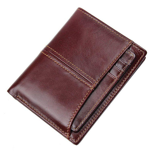 TucciPolo R-8107-2Q New Arrival Coffee Men's Cow Leather Wallet with RFID Money Holder and ID Card Holder.
