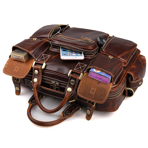 TucciPolo 7028C Fashion Style Rare Cow Leather Men's Briefcase Laptop Bag