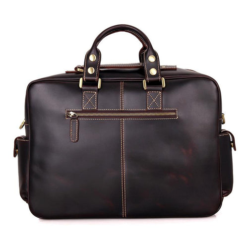 TucciPolo 7028Q Rare Cow Leather Men's Briefcase Laptop Messenger Bag