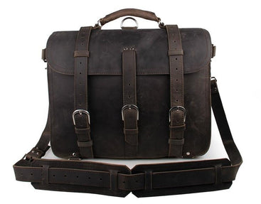 TucciPolo 7072J-1 Dark Grey Crazy Horse Leather Men's Briefcase Backpack Travel Bag