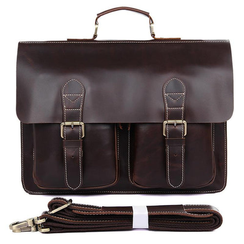 TucciPolo 7105Q-1 Cow Leather Style Men's Briefcase Laptop Messenger Bag
