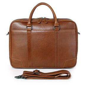 TucciPolo 7348B Men's Genuine Leather Brown Laptop Briefcase Handbag