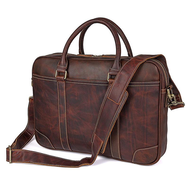 TucciPolo 7349Q Vintage Cow Leather 15 Inches Laptop Bag for Men