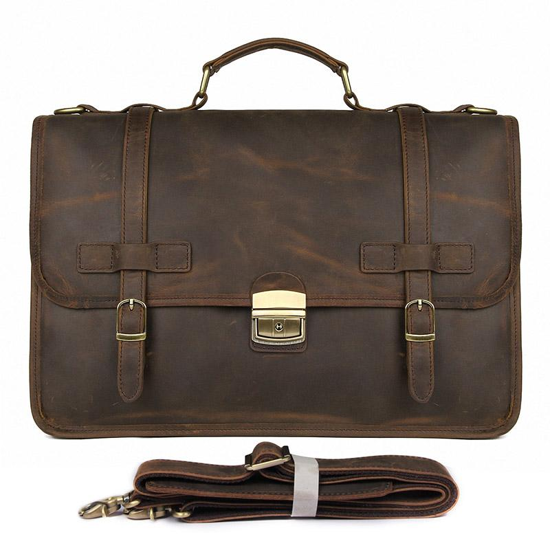TucciPolo 7397R Mens Dark Brown Messenger Leather Laptop Briefcase Bag