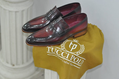 TucciPolo Alvaro Handmade Mens Burgundy Stylish Loafers Italian Leather Shoe