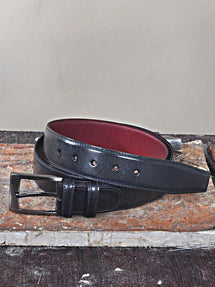TucciPolo Black Handpolished Mens Leather Luxury Belt