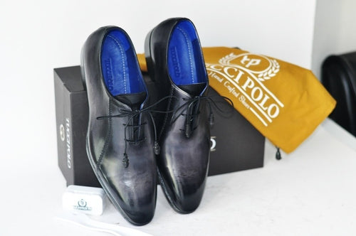 TucciPolo Black Oxford Mens Handcrafted Italian Leather Luxury Shoe with Leather Wrapped Laces