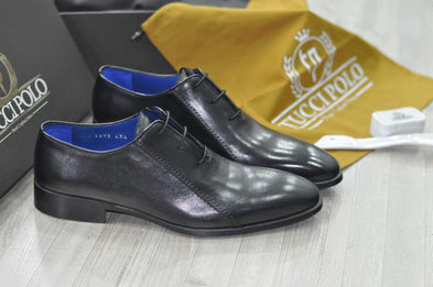 TucciPolo Black Oxford Mens Handsewn Italian Leather Luxury Shoe with Leather Wrapped Laces