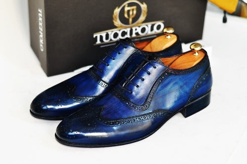 TucciPolo Bleached Blue Oxford Mens Handcrafted Leather Hand-Painted Luxury Shoe