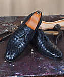 TucciPolo Borlo-BB Calfskin Chequeboard Weave Mens Stylish Italian Leather Loafer Shoe